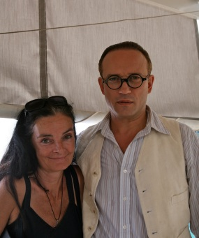 Mary McGuckian with Vincent Perez on the moive set